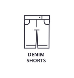 denim shorts line icon outline sign linear vector image