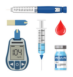 Diabetes and insulin icons set vector