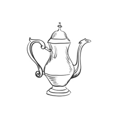 doodle coffee pot vector image