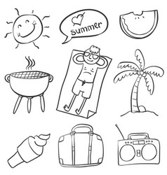 Doodle of summer hand draw collection vector