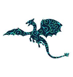 dragon fantastic pattern silhouette symbol vector image