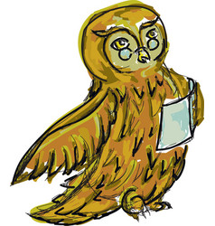 Drawn owl with book vector