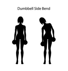 Dumbbell side bend exercise silhouette vector