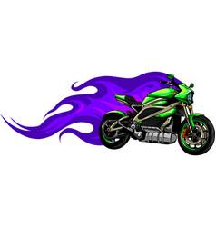 fiery green motorcycle racing vector image