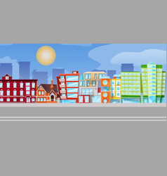 flat cartoon urban panorama - cityscape vector image