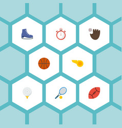 Flat icons ice boot rocket american football and vector