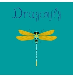 Flat on background insect dragonfly vector
