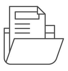Folder with file thin line icon archive folder vector