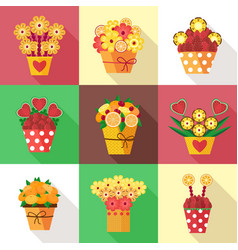 fruits in bloom bouquets vector image