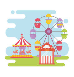 fun fair carnival ferris wheel carousel ticket vector image