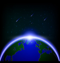 galaxy global illuminated and meteor showers vector image