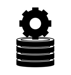 gear on stack coins money isolated image vector image