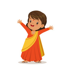 girl wearing sari dress national costume of india vector image