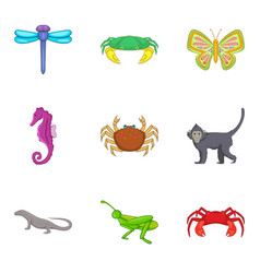 grasshopper icons set cartoon style vector image