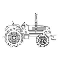 Green isolated tractor outline vector