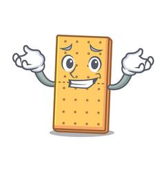 Grinning graham cookies character cartoon vector