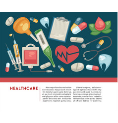 Healthcare banner pills and medical tools medicine vector