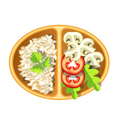 Healthy vegetarian delicious lunch in oval plastic vector