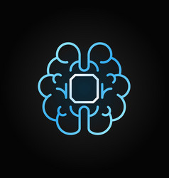 human brain with chip blue linear icon or vector image