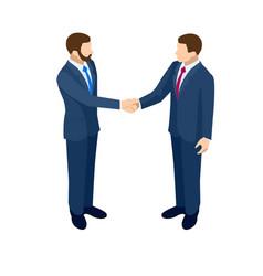 Isometric business handshakecincept two business vector