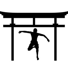 Jumping man in torii gate vector