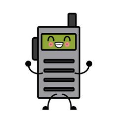 Kawaii walkie talkie communication radio cartoon vector
