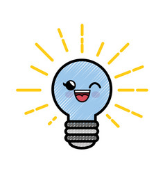 Light bulb cartoon smiley vector