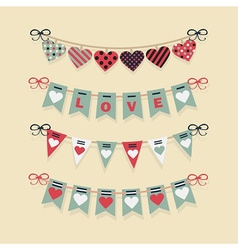 Love and hearts banners flags and buntings set vector