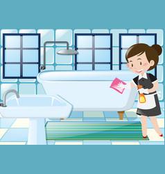 Maid cleaning bathtub in the bathroom vector