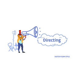man film director holding loudspeaker video vector image