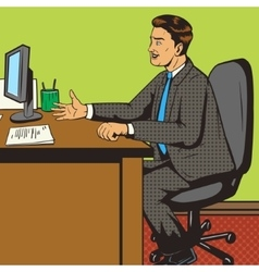 Man in office pop art retro style vector image