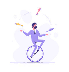 Man is riding on unicycle and juggling tasks vector