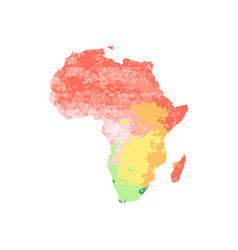 Map africa with red orange yellow blue green vector
