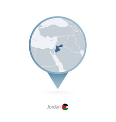 Map pin with detailed map jordan and vector
