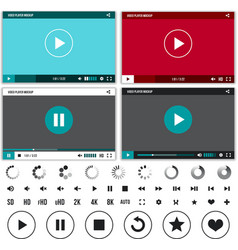 Media players with video controls buttons set vector
