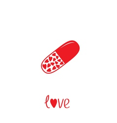 Medical pill with hearts inside Love card vector