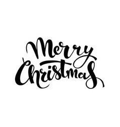 merry christmas handwritten lettering black text vector image