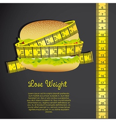 Meter around the hamburger over black background vector