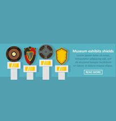 Museum exhibits shields banner horizontal concept vector