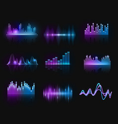 music equalizers audio or radio waves set vector image