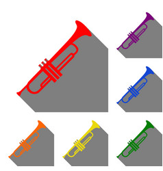 musical instrument trumpet sign set of red vector image
