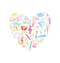 Musical notes and instruments vector