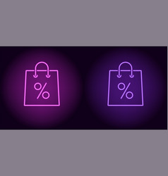 neon shopping bag in purple and violet color vector image