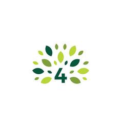 Number 4 four tree leaf nature mark green logo vector