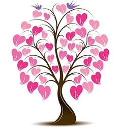Ornaments Heart Tree with Bird vector image