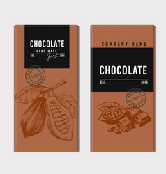 Package vintage style chocolate and cocoa sketch vector