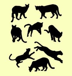 Puma animals silhouettes vector
