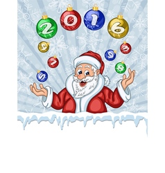 Santa Claus juggling Christmas Tree decorations vector