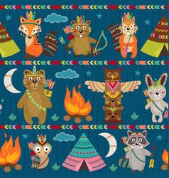 Seamless pattern with tribal animals night vector