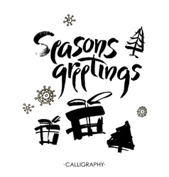 Season s greetings Christmas calligraphy vector